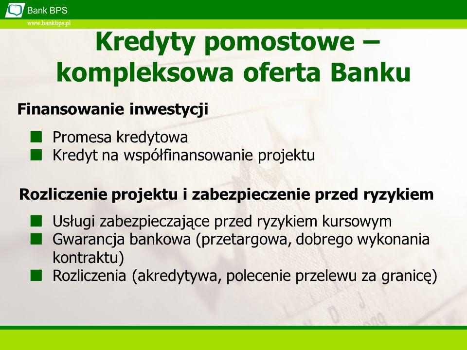 www.bankbps.pl Kredyty Pomostowe Przedmiotem kredytowania mogą być przedsięwzięcia objęte dotacjami z funduszy Unii Europejskiej realizowane w latach 2007-2013 Kwota kredytu uzależniona jest od: kosztów realizacji projektu pomniejszonych o wymagany udział własny i kwotę dotacji zdolności kredytowej kredytobiorcy, lub spełnienia wymogów realizowanego Programu Kredyty udzielane mogą być w walutach: PLN, EUR, USD Podstawowe informacje (1)