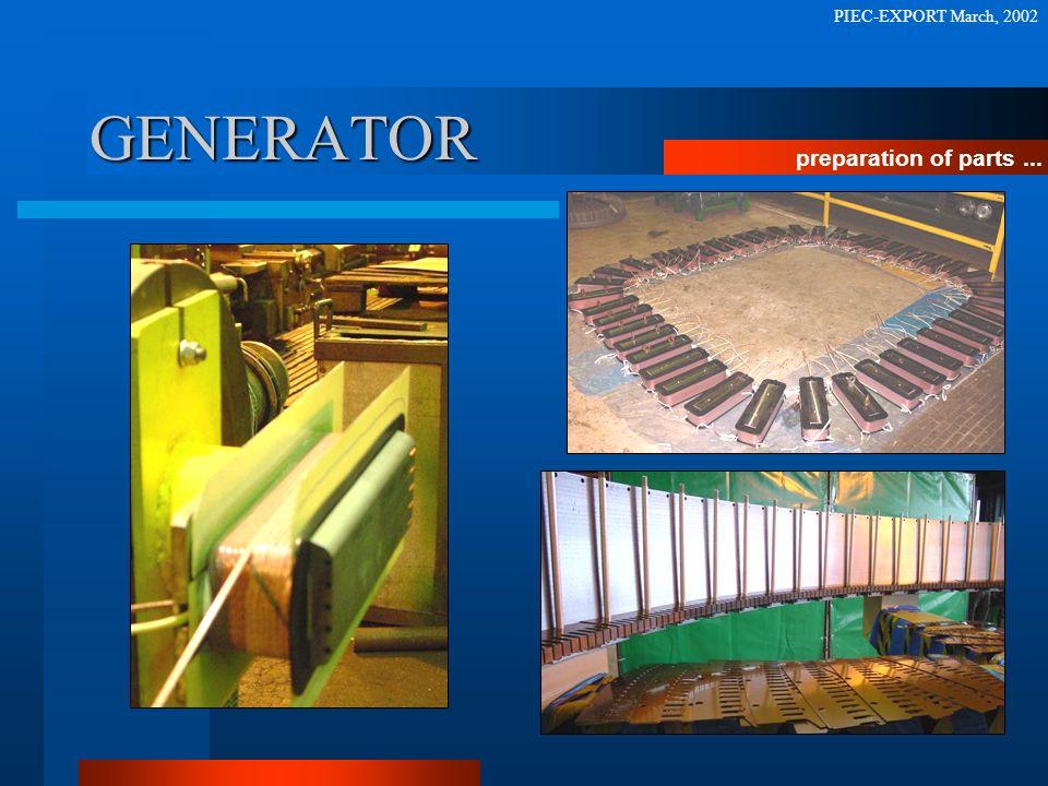 GENERATOR preparation of parts... PIEC-EXPORT March, 2002