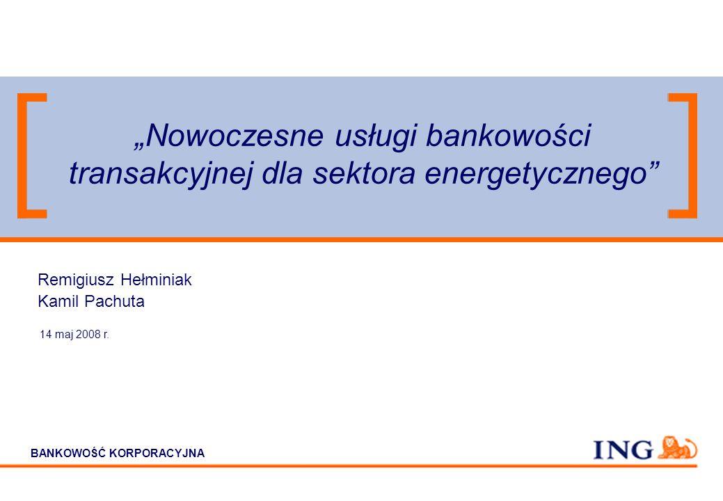 BANKOWOŚĆ KORPORACYJNA Nowoczesne usługi bankowości transakcyjnej dla sektora energetycznego 14 maj 2008 r.