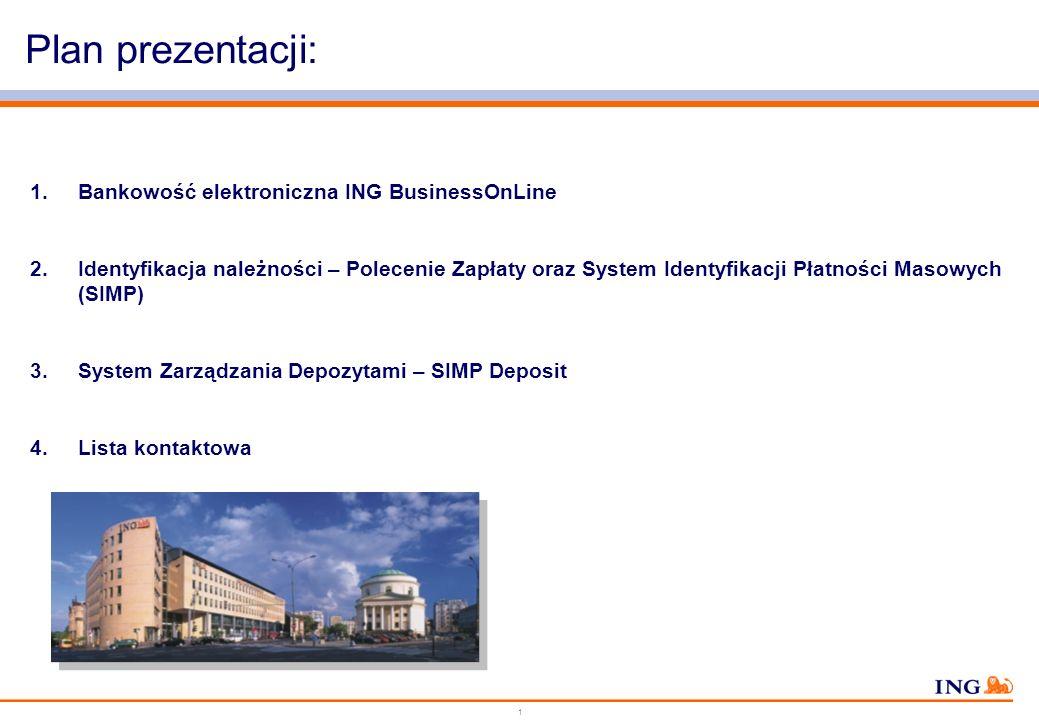 1 Plan prezentacji: 1.Bankowość elektroniczna ING BusinessOnLine 2.Identyfikacja należności – Polecenie Zapłaty oraz System Identyfikacji Płatności Masowych (SIMP) 3.System Zarządzania Depozytami – SIMP Deposit 4.Lista kontaktowa