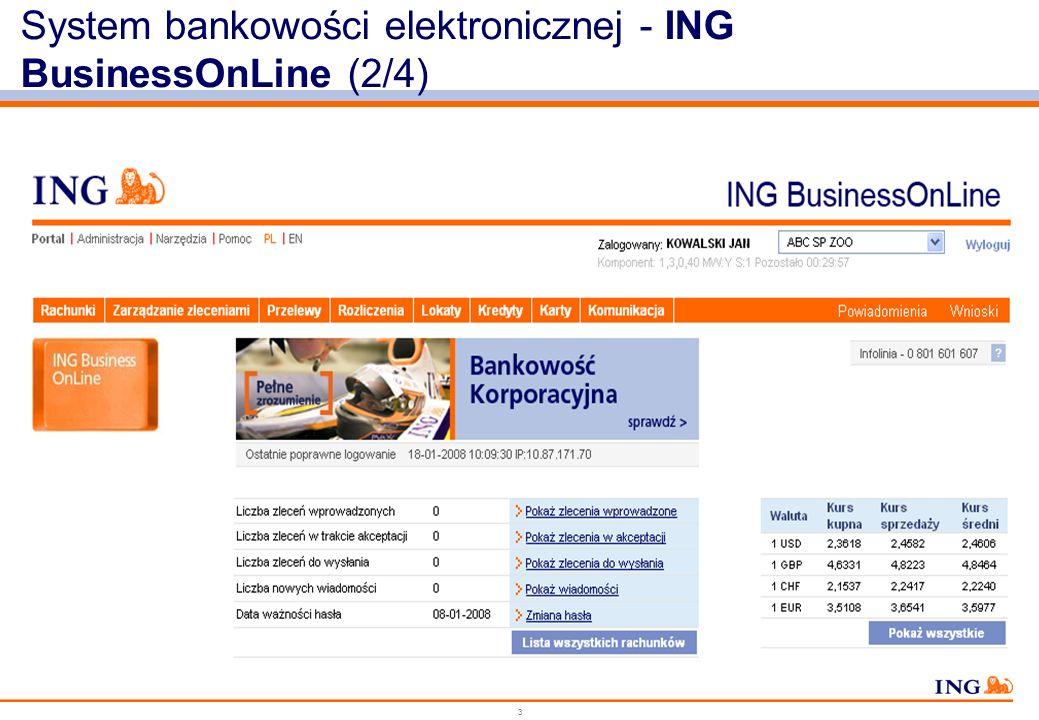 2 System bankowości elektronicznej - ING BusinessOnLine (1/4) Najwyższy poziom bezpieczeństwa systemu Przyjazny Interfejs dla użytkownika – system bar