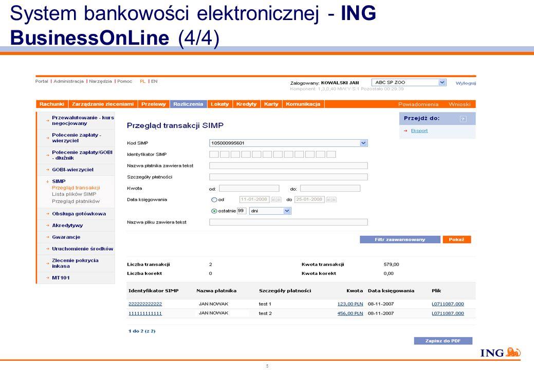 5 System bankowości elektronicznej - ING BusinessOnLine (4/4)