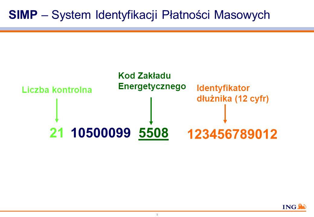 9 SIMP – System Identyfikacji Płatności Masowych Liczba kontrolna 21 Kod Zakładu Energetycznego 105000995508 123456789012 Identyfikator dłużnika (12 cyfr)