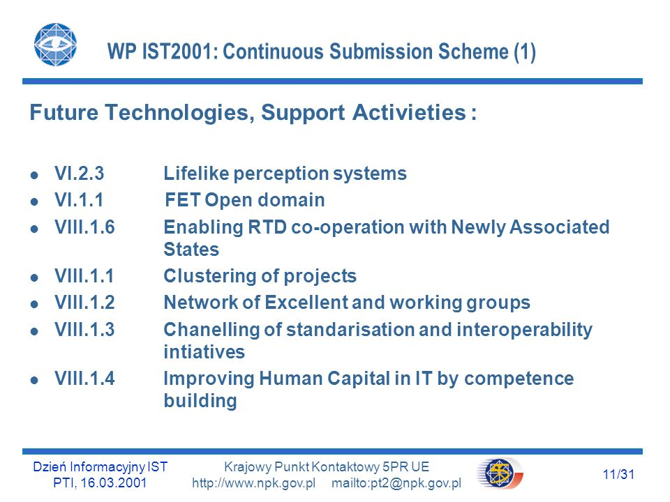 Dzień Informacyjny IST PTI, 16.03.2001 11/31 Krajowy Punkt Kontaktowy 5PR UE http://www.npk.gov.pl mailto:pt2@npk.gov.pl WP IST2001: Continuous Submission Scheme (1) Future Technologies, Support Activieties : l VI.2.3 Lifelike perception systems l VI.1.1 FET Open domain l VIII.1.6Enabling RTD co-operation with Newly Associated States l VIII.1.1 Clustering of projects l VIII.1.2 Network of Excellent and working groups l VIII.1.3Chanelling of standarisation and interoperability intiatives l VIII.1.4Improving Human Capital in IT by competence building