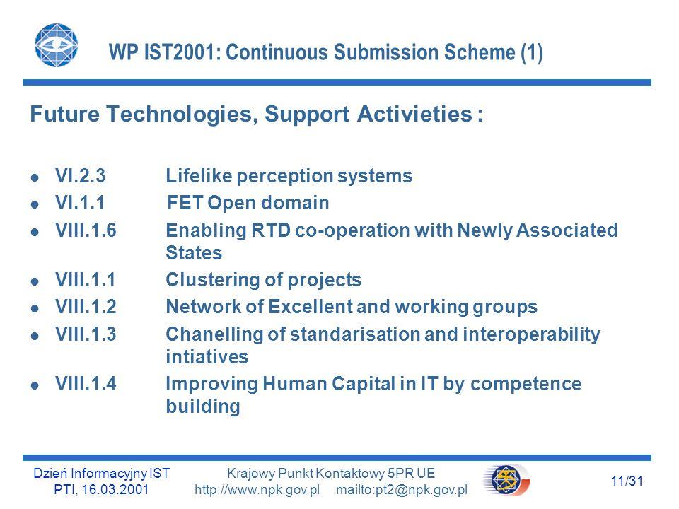 Dzień Informacyjny IST PTI, 16.03.2001 11/31 Krajowy Punkt Kontaktowy 5PR UE http://www.npk.gov.pl mailto:pt2@npk.gov.pl WP IST2001: Continuous Submis
