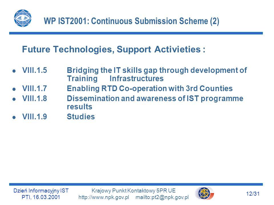 Dzień Informacyjny IST PTI, 16.03.2001 12/31 Krajowy Punkt Kontaktowy 5PR UE http://www.npk.gov.pl mailto:pt2@npk.gov.pl WP IST2001: Continuous Submis