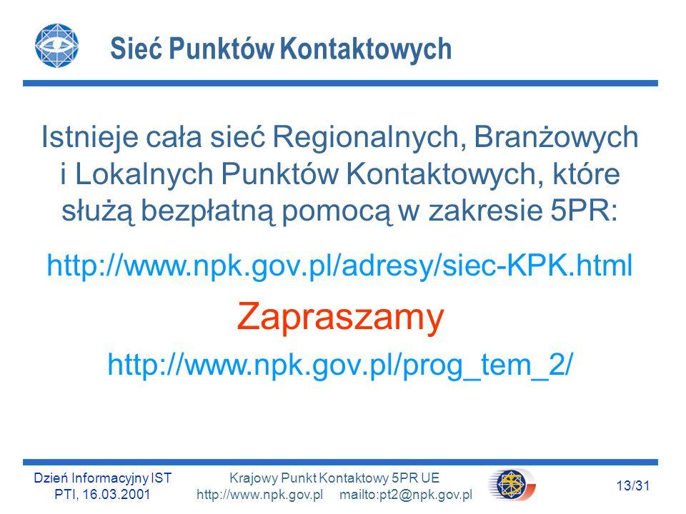 Dzień Informacyjny IST PTI, 16.03.2001 13/31 Krajowy Punkt Kontaktowy 5PR UE http://www.npk.gov.pl mailto:pt2@npk.gov.pl Sieć Punktów Kontaktowych Ist