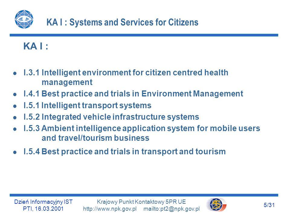 Dzień Informacyjny IST PTI, 16.03.2001 5/31 Krajowy Punkt Kontaktowy 5PR UE http://www.npk.gov.pl mailto:pt2@npk.gov.pl KA I : Systems and Services fo