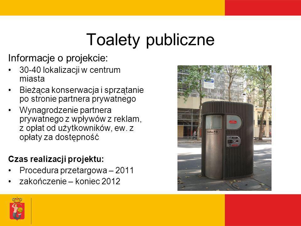 Toalety publiczne Informacje o projekcie: 30-40 lokalizacji w centrum miasta Bieżąca konserwacja i sprzątanie po stronie partnera prywatnego Wynagrodz