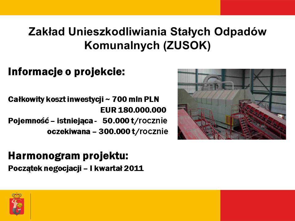 Zakład Unieszkodliwiania Stałych Odpadów Komunalnych (ZUSOK) Informacje o projekcie: Całkowity koszt inwestycji ~ 700 mln PLN EUR 180.000.000 Pojemnoś