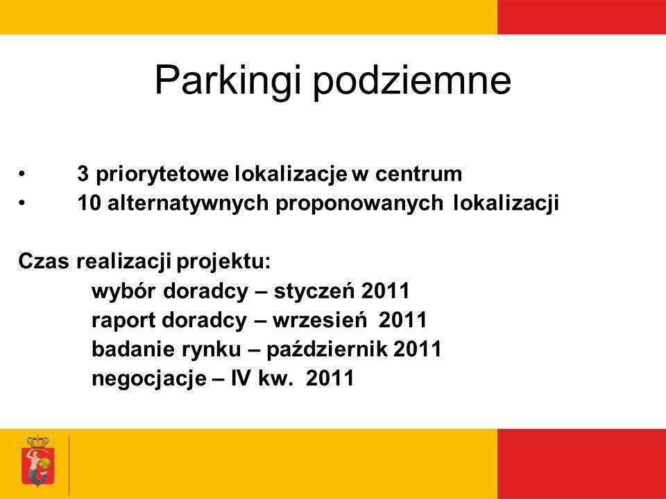 Parkingi podziemne 3 priorytetowe lokalizacje w centrum 10 alternatywnych proponowanych lokalizacji Czas realizacji projektu: wybór doradcy – styczeń