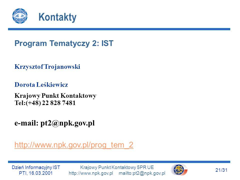 Dzień Informacyjny IST PTI, 16.03.2001 20/31 Krajowy Punkt Kontaktowy 5PR UE http://www.npk.gov.pl mailto:pt2@npk.gov.pl Przyszłość.