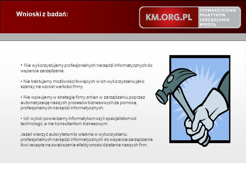 © STOWARZYSZENIE PRAKTYKÓW ZARZĄDZANIA WIEDZĄ 2011 Wnioski z badań: Nie wykorzystujemy profesjonalnych narzędzi informatycznych do wsparcia zarządzania.