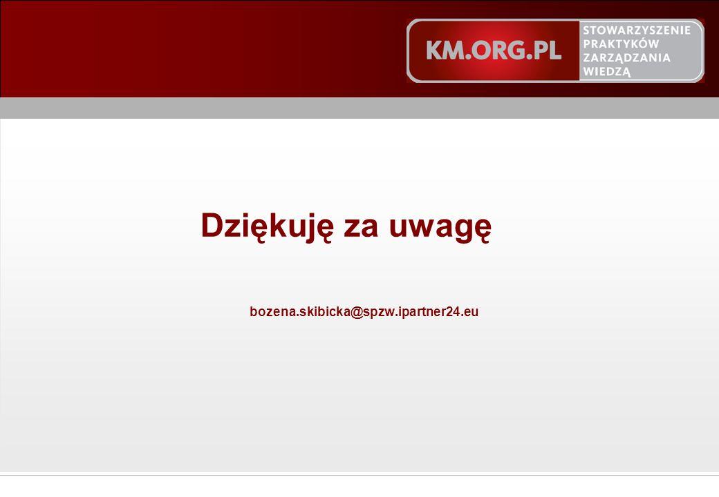 © STOWARZYSZENIE PRAKTYKÓW ZARZĄDZANIA WIEDZĄ 2011 Dziękuję za uwagę bozena.skibicka@spzw.ipartner24.eu