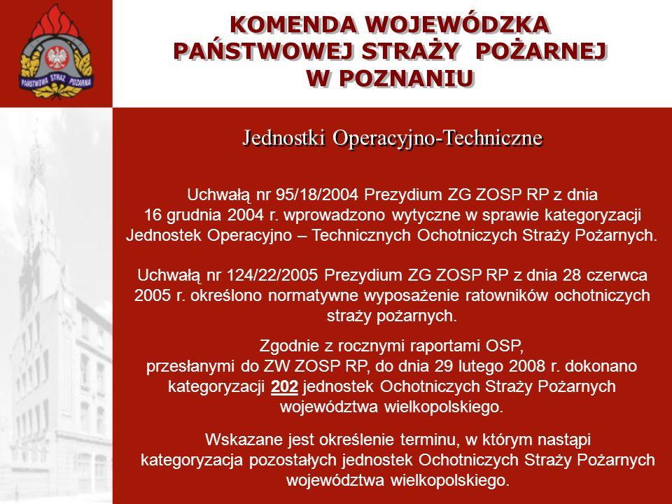 KOMENDA WOJEWÓDZKA PAŃSTWOWEJ STRAŻY POŻARNEJ W POZNANIU Jednostki Operacyjno-Techniczne Uchwałą nr 95/18/2004 Prezydium ZG ZOSP RP z dnia 16 grudnia