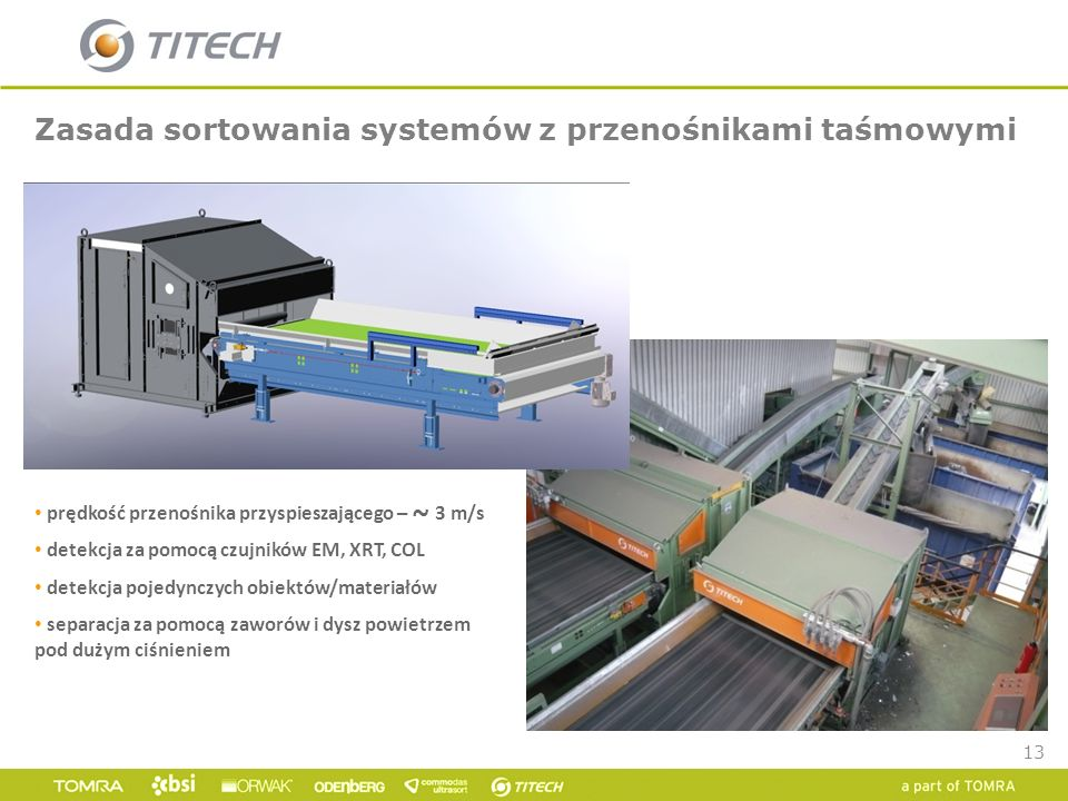 13 Zasada sortowania systemów z przenośnikami taśmowymi prędkość przenośnika przyspieszającego – ~ 3 m/s detekcja za pomocą czujników EM, XRT, COL det