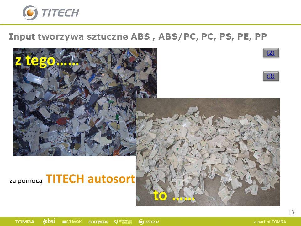 18 Input tworzywa sztuczne ABS, ABS/PC, PC, PS, PE, PP za pomocą TITECH autosort z tego…… to …… (2) (3)
