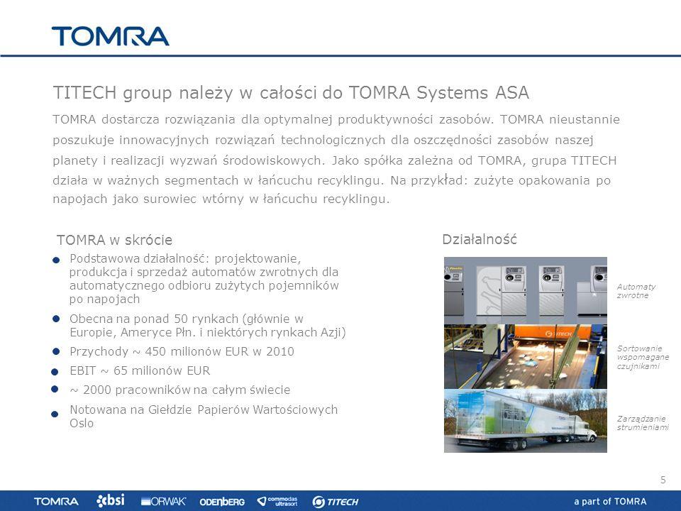 Działalność TOMRA dostarcza rozwiązania dla optymalnej produktywności zasobów. TOMRA nieustannie poszukuje innowacyjnych rozwiązań technologicznych dl