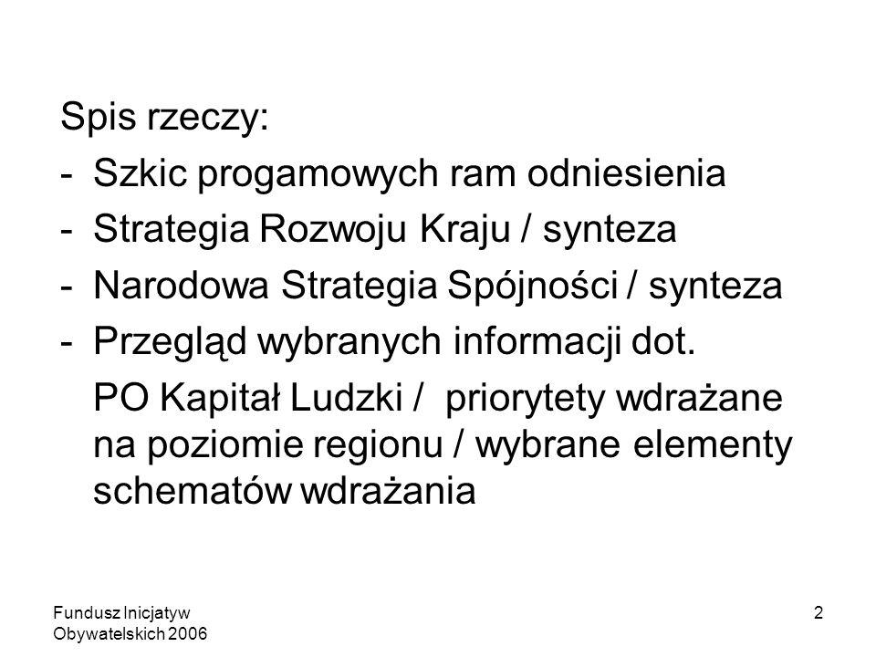 Fundusz Inicjatyw Obywatelskich 2006 2 Spis rzeczy: -Szkic progamowych ram odniesienia -Strategia Rozwoju Kraju / synteza -Narodowa Strategia Spójności / synteza -Przegląd wybranych informacji dot.