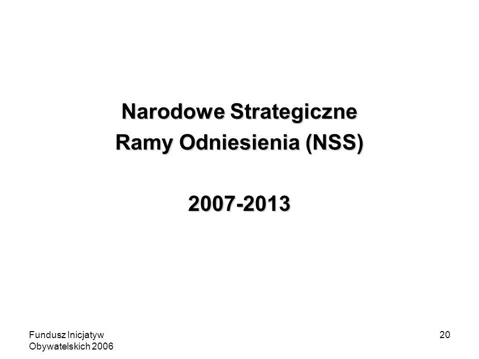 Fundusz Inicjatyw Obywatelskich 2006 20 Narodowe Strategiczne Ramy Odniesienia (NSS) 2007-2013