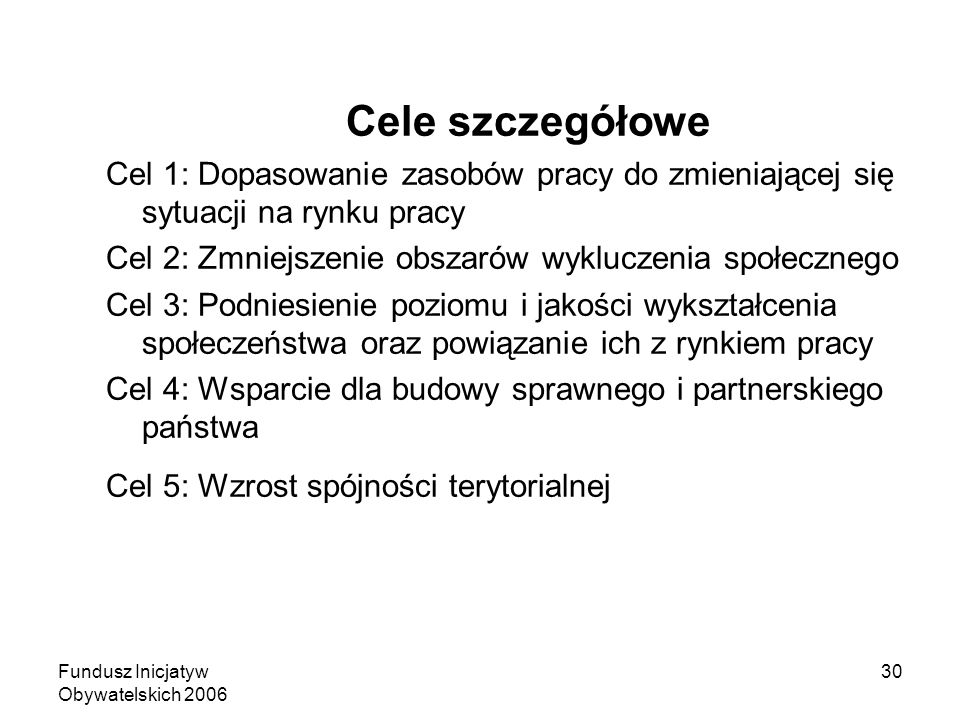 Fundusz Inicjatyw Obywatelskich 2006 30 Cele szczegółowe Cel 1: Dopasowanie zasobów pracy do zmieniającej się sytuacji na rynku pracy Cel 2: Zmniejsze
