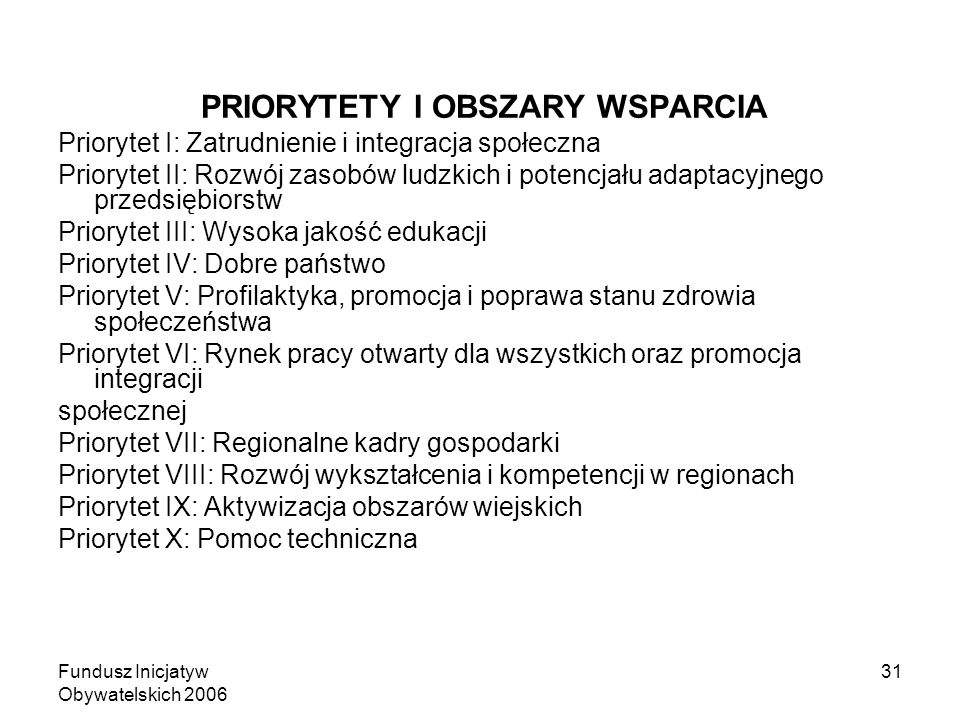 Fundusz Inicjatyw Obywatelskich 2006 31 PRIORYTETY I OBSZARY WSPARCIA Priorytet I: Zatrudnienie i integracja społeczna Priorytet II: Rozwój zasobów ludzkich i potencjału adaptacyjnego przedsiębiorstw Priorytet III: Wysoka jakość edukacji Priorytet IV: Dobre państwo Priorytet V: Profilaktyka, promocja i poprawa stanu zdrowia społeczeństwa Priorytet VI: Rynek pracy otwarty dla wszystkich oraz promocja integracji społecznej Priorytet VII: Regionalne kadry gospodarki Priorytet VIII: Rozwój wykształcenia i kompetencji w regionach Priorytet IX: Aktywizacja obszarów wiejskich Priorytet X: Pomoc techniczna