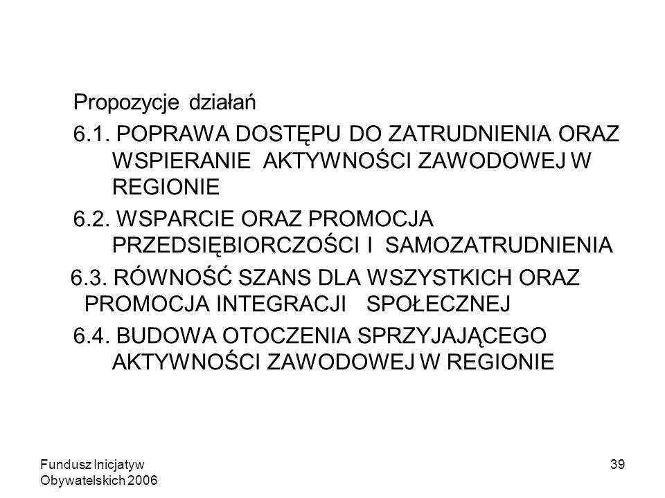 Fundusz Inicjatyw Obywatelskich 2006 39 Propozycje działań 6.1. POPRAWA DOSTĘPU DO ZATRUDNIENIA ORAZ WSPIERANIE AKTYWNOŚCI ZAWODOWEJ W REGIONIE 6.2. W