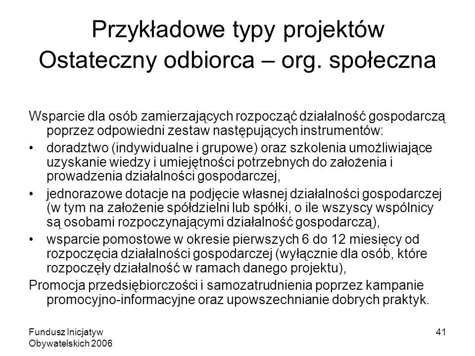 Fundusz Inicjatyw Obywatelskich 2006 41 Przykładowe typy projektów Ostateczny odbiorca – org.