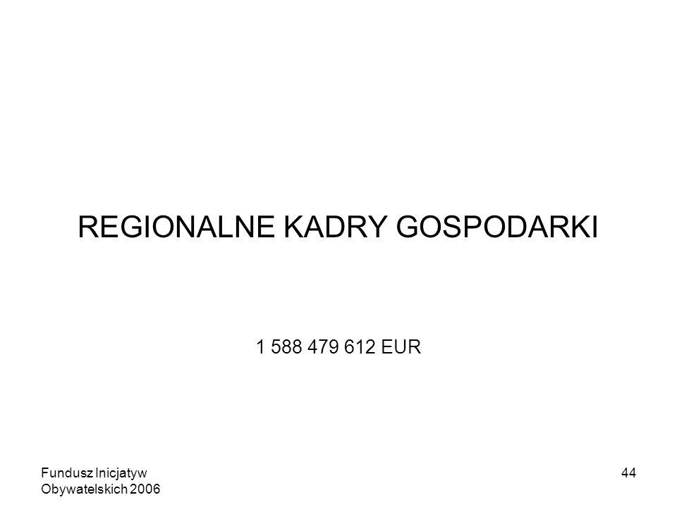 Fundusz Inicjatyw Obywatelskich 2006 44 REGIONALNE KADRY GOSPODARKI 1 588 479 612 EUR