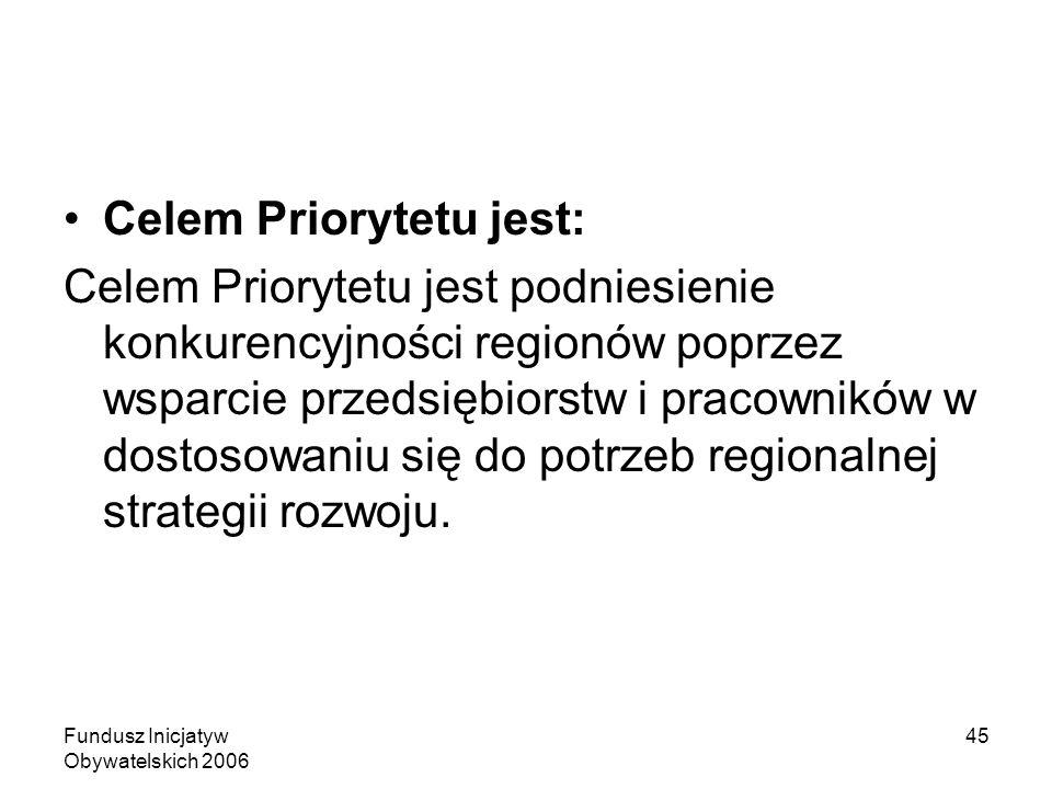 Fundusz Inicjatyw Obywatelskich 2006 45 Celem Priorytetu jest: Celem Priorytetu jest podniesienie konkurencyjności regionów poprzez wsparcie przedsiębiorstw i pracowników w dostosowaniu się do potrzeb regionalnej strategii rozwoju.