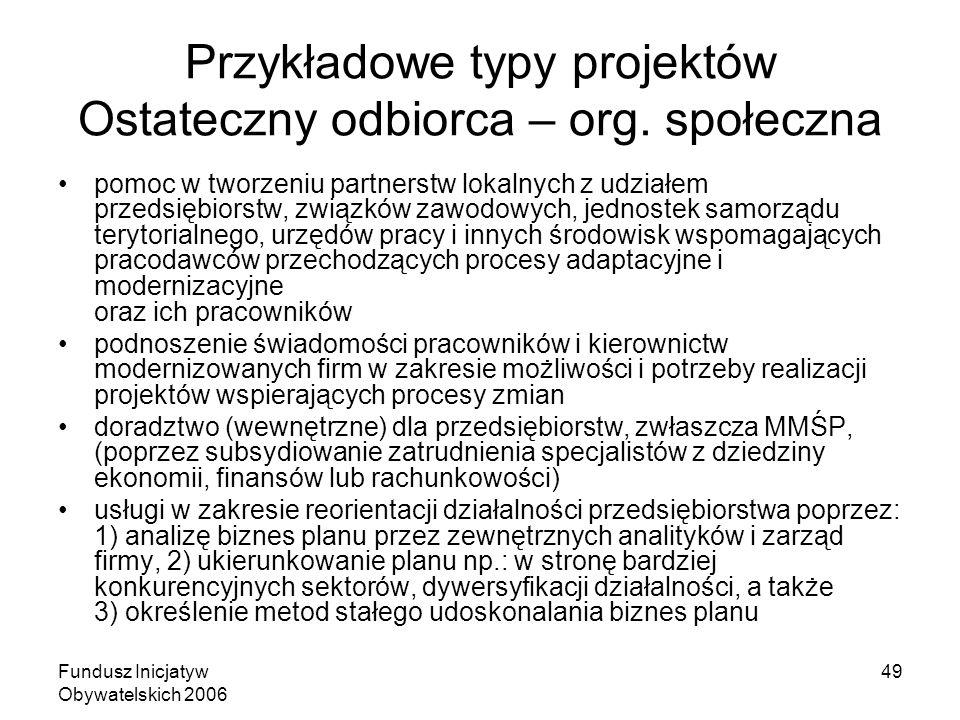 Fundusz Inicjatyw Obywatelskich 2006 49 Przykładowe typy projektów Ostateczny odbiorca – org.