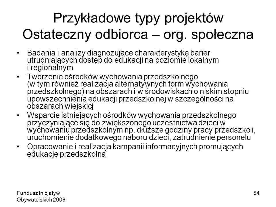 Fundusz Inicjatyw Obywatelskich 2006 54 Przykładowe typy projektów Ostateczny odbiorca – org. społeczna Badania i analizy diagnozujące charakterystykę