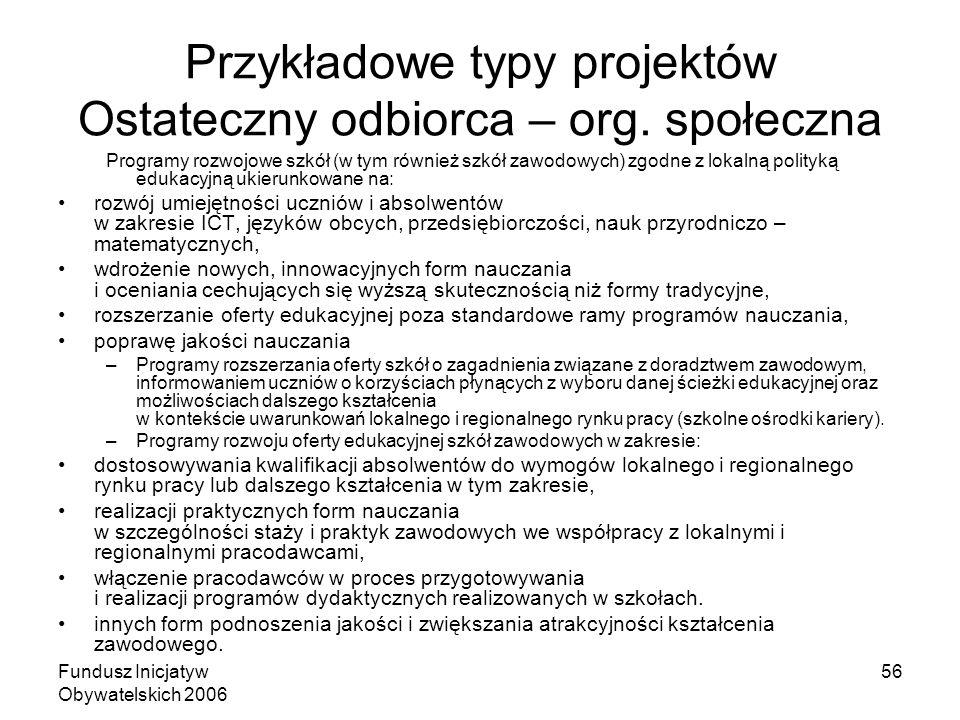 Fundusz Inicjatyw Obywatelskich 2006 56 Przykładowe typy projektów Ostateczny odbiorca – org. społeczna Programy rozwojowe szkół (w tym również szkół