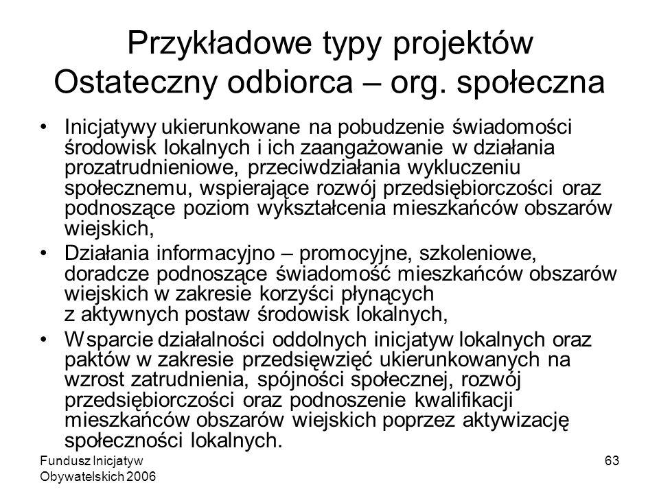 Fundusz Inicjatyw Obywatelskich 2006 63 Przykładowe typy projektów Ostateczny odbiorca – org.