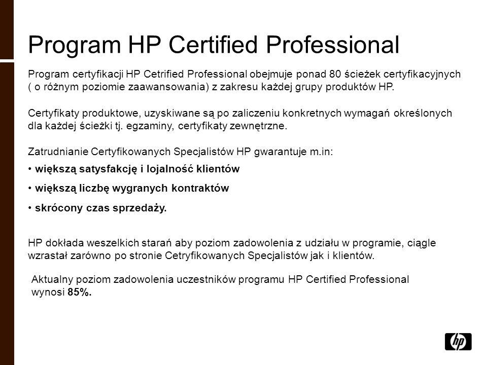 Program HP Certified Professional Program certyfikacji HP Cetrified Professional obejmuje ponad 80 ścieżek certyfikacyjnych ( o różnym poziomie zaawan