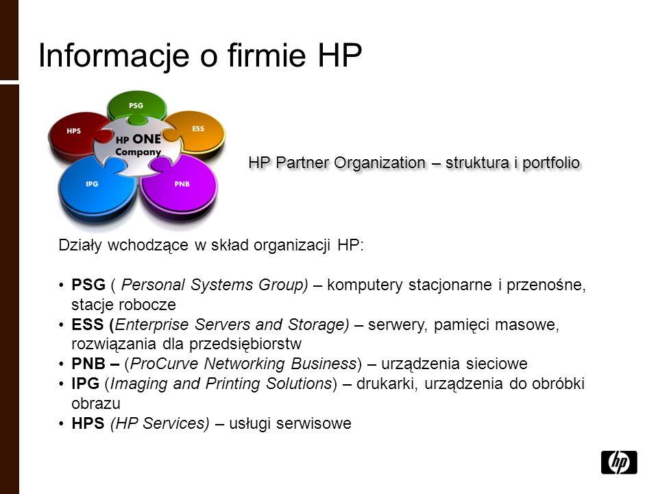 HP Partner Organization – struktura i portfolio Działy wchodzące w skład organizacji HP: PSG ( Personal Systems Group) – komputery stacjonarne i przen