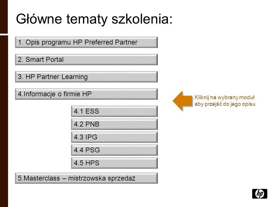 Główne tematy szkolenia: 1. Opis programu HP Preferred Partner 2. Smart Portal 3. HP Partner Learning 4.Informacje o firmie HP 4.1 ESS 4.2 PNB 5.Maste