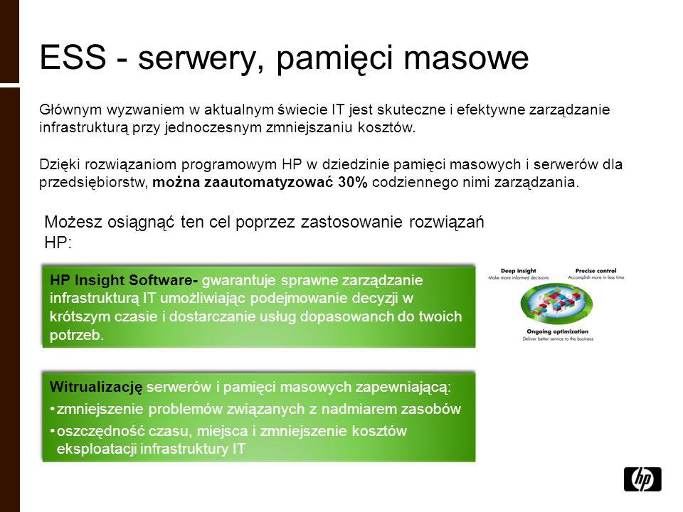 ESS - serwery, pamięci masowe Głównym wyzwaniem w aktualnym świecie IT jest skuteczne i efektywne zarządzanie infrastrukturą przy jednoczesnym zmniejs