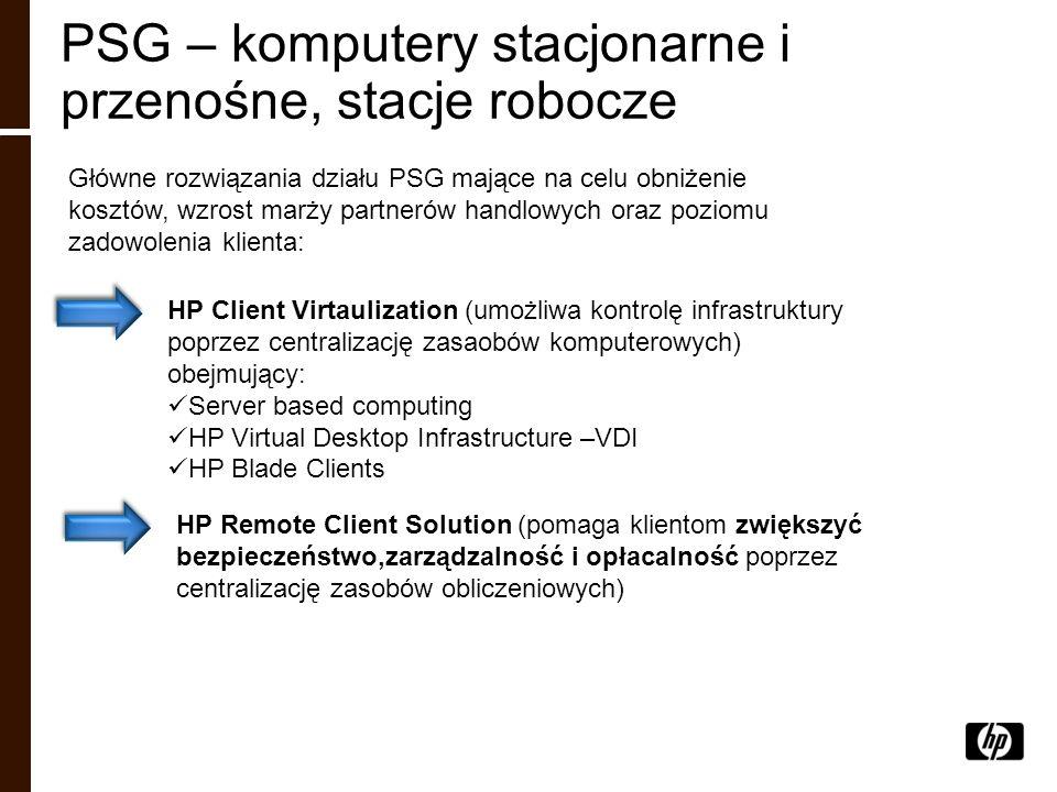 PSG – komputery stacjonarne i przenośne, stacje robocze Główne rozwiązania działu PSG mające na celu obniżenie kosztów, wzrost marży partnerów handlow