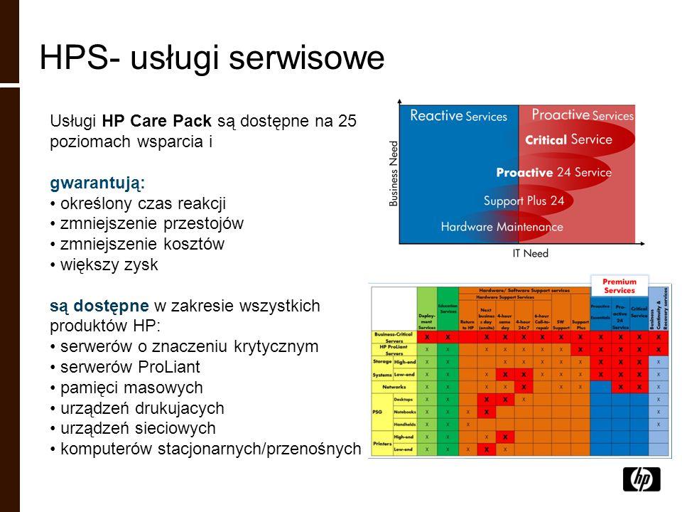 Usługi HP Care Pack są dostępne na 25 poziomach wsparcia i gwarantują: określony czas reakcji zmniejszenie przestojów zmniejszenie kosztów większy zys