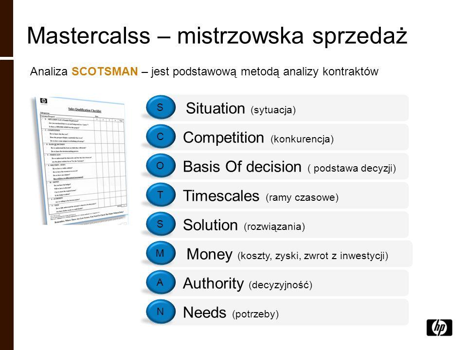 Mastercalss – mistrzowska sprzedaż Analiza SCOTSMAN – jest podstawową metodą analizy kontraktów Situation (sytuacja) S Competition (konkurencja) C Bas