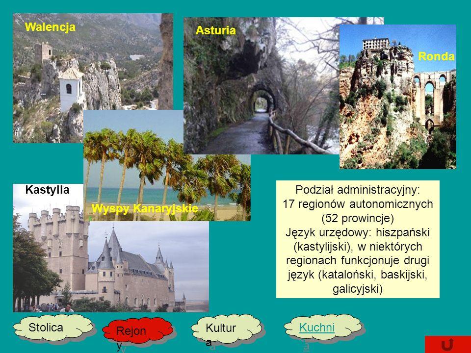 Stolica Kultur a Kultur a Kuchni a Kuchni a Rejon y Rejon y Kastylia Podział administracyjny: 17 regionów autonomicznych (52 prowincje) Język urzędowy: hiszpański (kastylijski), w niektórych regionach funkcjonuje drugi język (kataloński, baskijski, galicyjski) Wyspy Kanaryjskie Ronda Asturia Walencja