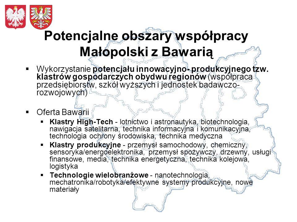 Potencjalne obszary współpracy Małopolski z Bawarią Wykorzystanie potencjału innowacyjno- produkcyjnego tzw. klastrów gospodarczych obydwu regionów (w