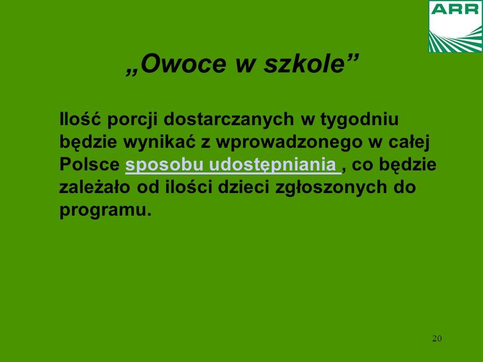 20 Ilość porcji dostarczanych w tygodniu będzie wynikać z wprowadzonego w całej Polsce sposobu udostępniania, co będzie zależało od ilości dzieci zgłoszonych do programu.sposobu udostępniania Owoce w szkole