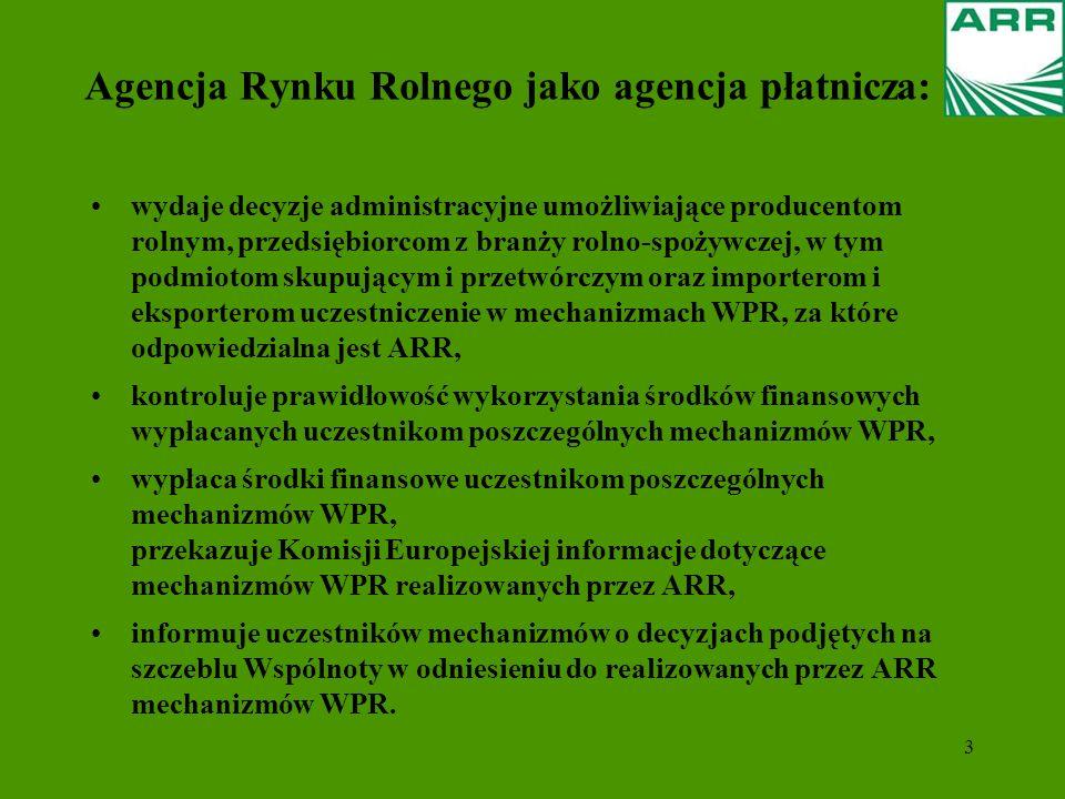 3 Agencja Rynku Rolnego jako agencja płatnicza: wydaje decyzje administracyjne umożliwiające producentom rolnym, przedsiębiorcom z branży rolno-spożyw