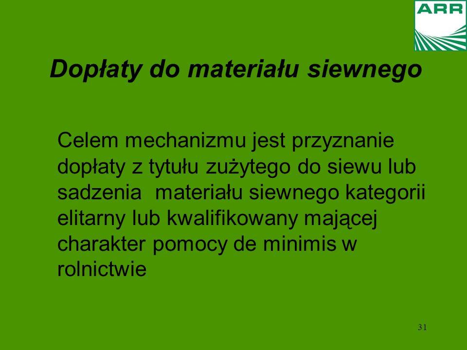 31 Dopłaty do materiału siewnego Celem mechanizmu jest przyznanie dopłaty z tytułu zużytego do siewu lub sadzenia materiału siewnego kategorii elitarny lub kwalifikowany mającej charakter pomocy de minimis w rolnictwie