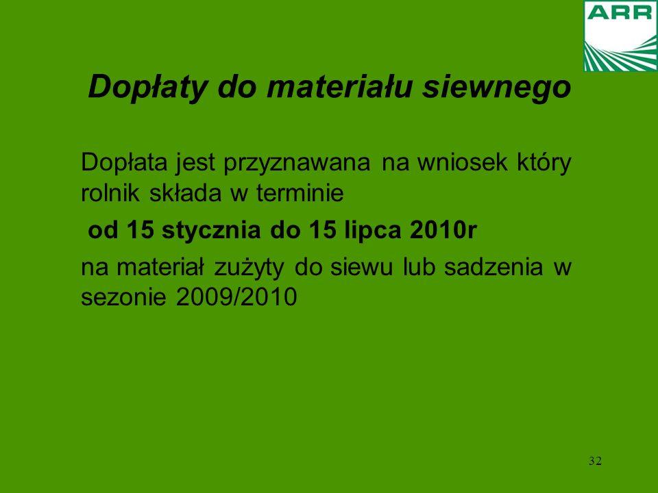 32 Dopłaty do materiału siewnego Dopłata jest przyznawana na wniosek który rolnik składa w terminie od 15 stycznia do 15 lipca 2010r na materiał zużyty do siewu lub sadzenia w sezonie 2009/2010