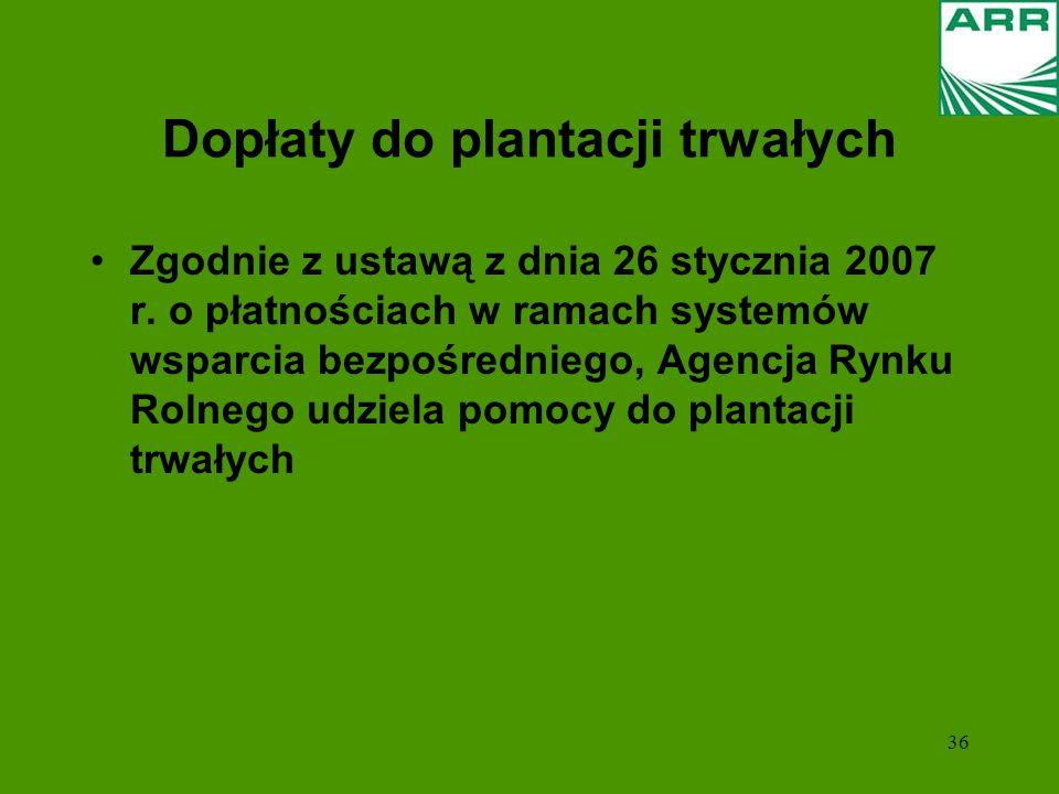 36 Dopłaty do plantacji trwałych Zgodnie z ustawą z dnia 26 stycznia 2007 r. o płatnościach w ramach systemów wsparcia bezpośredniego, Agencja Rynku R