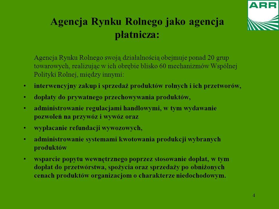 4 Agencja Rynku Rolnego jako agencja płatnicza: Agencja Rynku Rolnego swoją działalnością obejmuje ponad 20 grup towarowych, realizując w ich obrębie blisko 60 mechanizmów Wspólnej Polityki Rolnej, między innymi: interwencyjny zakup i sprzedaż produktów rolnych i ich przetworów, dopłaty do prywatnego przechowywania produktów, administrowanie regulacjami handlowymi, w tym wydawanie pozwoleń na przywóz i wywóz oraz wypłacanie refundacji wywozowych, administrowanie systemami kwotowania produkcji wybranych produktów wsparcie popytu wewnętrznego poprzez stosowanie dopłat, w tym dopłat do przetwórstwa, spożycia oraz sprzedaży po obniżonych cenach produktów organizacjom o charakterze niedochodowym.