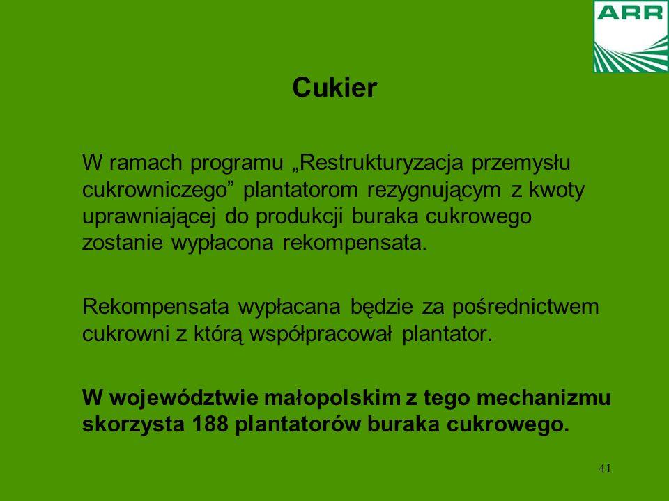 41 Cukier W ramach programu Restrukturyzacja przemysłu cukrowniczego plantatorom rezygnującym z kwoty uprawniającej do produkcji buraka cukrowego zost